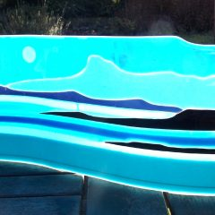 Eigg from Arisaig - Fused Glass Graham Muir | Paisley Scotland