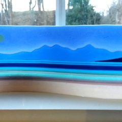 Arran from Bute - Fused Glass Art by Graham Muir - Gramble Glass Scotland