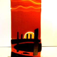 Brodgar sunset - Fused Glass Graham Muir | Paisley Scotland