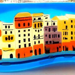 Portofino waterfront - freestanding waveform - Fused Glass Art Paisley Glasgow Scotland