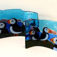 Puffins spring and summer - Fused Glass Art Paisley Glasgow Scotland