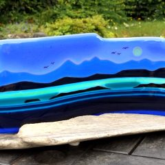 Jura Seascape on Driftwood - Fused Glass Graham Muir | Paisley Scotland