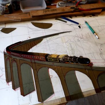 Panel under construction: Glenfinnan Viaduct with Jacobite steam train