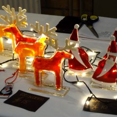 Christmas decorations: Penguins, Santa & Reindeers - Fused Glass Gifts Seasonal Graham Muir Paisley