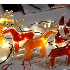 Santa & Reindeers - Fused Glass Gifts Seasonal Graham Muir Paisley