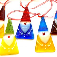 Gnome Tree Decorations - Fused Glass Gifts Seasonal Graham Muir Paisley Scotland
