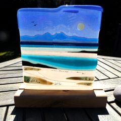 Jura from Colonsay, Woodbase - Fused Glass Graham Muir | Paisley Scotland