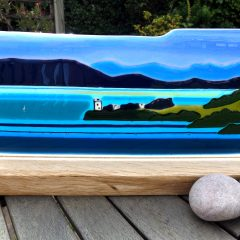 Urquhart Castle - Woodbase - Fused Glass Graham Muir | Paisley Scotland