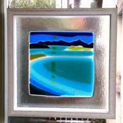 Luskentyre - hanging frame | Fused Glass Graham Muir | Paisley Scotland