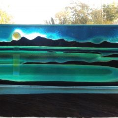 Kilmory Bay woodbase - Fused Glass Graham Muir | Paisley Scotland