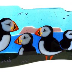 Puffin Freestanding Wave - Fused Glass Paisley Scotland
