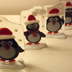 Christmas decorations: Penguins - Fused Glass Gifts Seasonal Graham Muir Paisley
